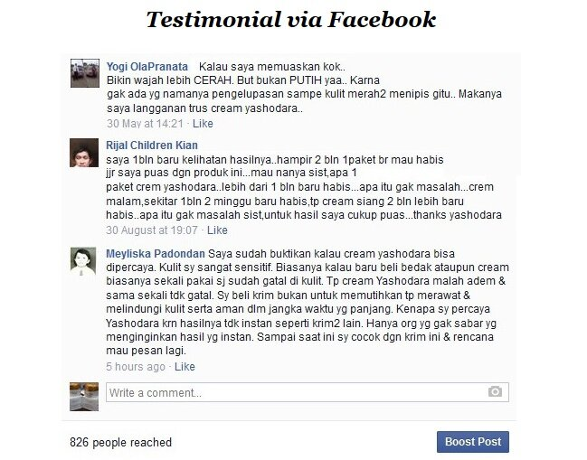 Testimoni via Facebook Cream Yashodara